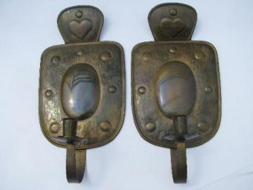 vintage Sweden solid brass wall candle sconces pair, Swedish country hearts