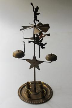 vintage Swedish Christmas candle spinner w/ angels, brass angel candle chimes
