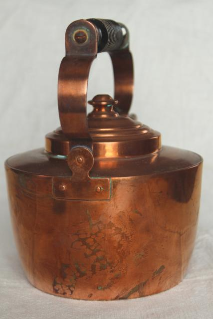 vintage Swedish copper teapot, tea kettle w/ wood handle, tarnished old patina