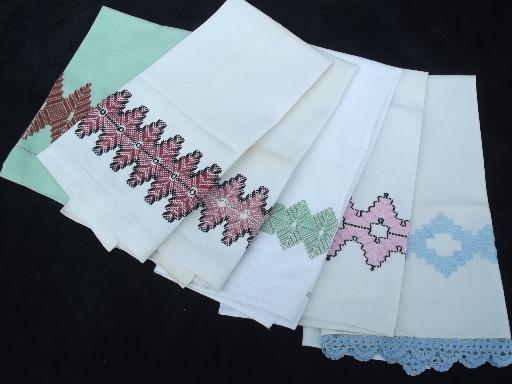 Vintage Swedish Embroidery Huck Cotton Kitchen Tea Towels Lot