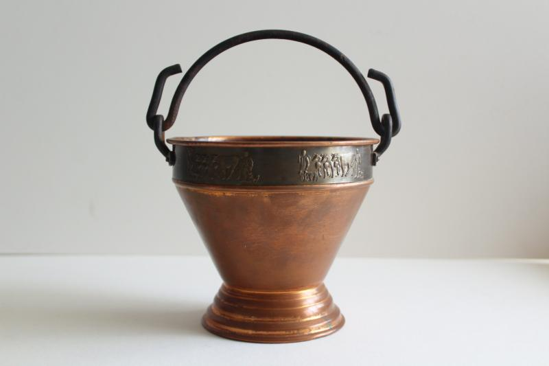 vintage Swiss copper milk pail w/ parade of cows, Stockli Netstal goat milking bucket