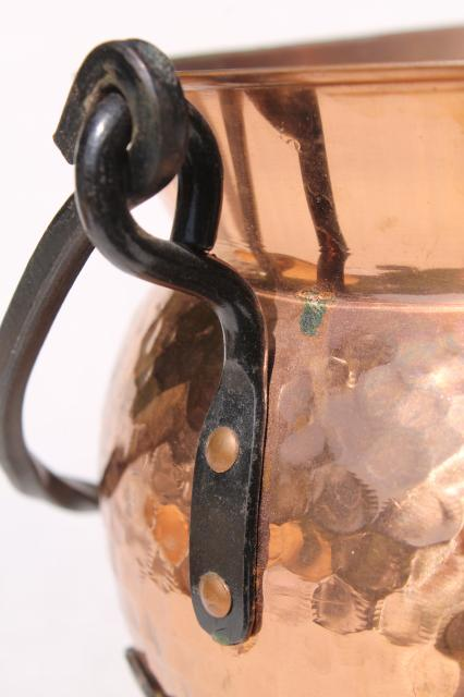 vintage Swiss copper pot kettle w/ wrought iron handle & feet, witch cauldron shape