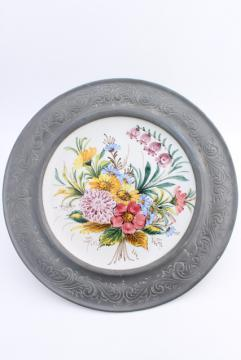 vintage Swiss pewter rimmed ceramic plate w/ hand painted alpine flowers
