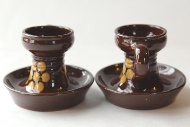 vintage Swiss pottery candlesticks, handpainted candle holders Switzerland Kohler Biel