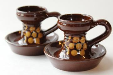 vintage Swiss pottery candlesticks, handpainted candle holders Switzerland Kohler Biel
