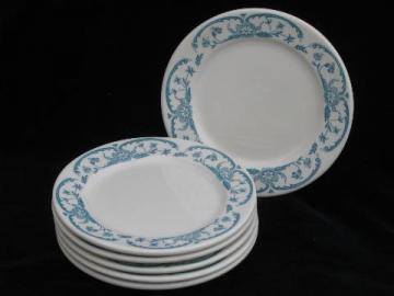 vintage Syracuse China white ironstone restaurantware, set of sandwich plates w/ blue floral