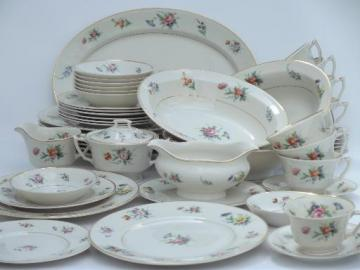 vintage Syracuse china, Old Ivory Selma floral luncheon dishes set for 8