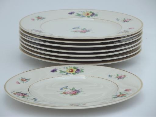 vintage Syracuse china Old Ivory Selma floral luncheon plates set of 8 & Syracuse china Old Ivory Selma floral luncheon plates set of 8