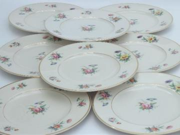vintage Syracuse china, Old Ivory Selma floral luncheon plates set of 8