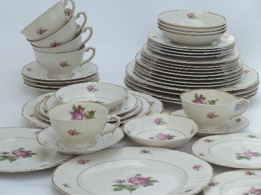 & vintage Syracuse china Victoria moss rose dinnerware set for 6