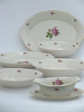 vintage Syracuse china, Victoria moss rose pattern serving pieces lot