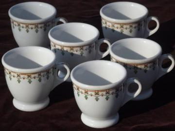 vintage Syracuse china footed cups, art deco egyptian revival border