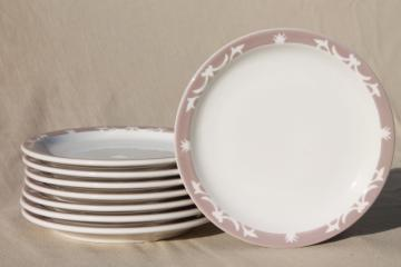 vintage Syracuse china heavy ironstone restaurantware plates, stencil border dove grey buff on white