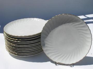 vintage Syracuse china plates, Debonair pure white fluted swirl w/ gold