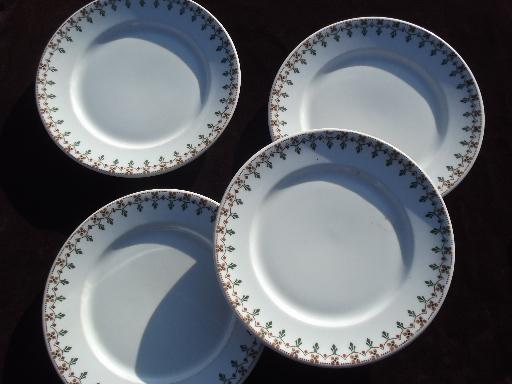 vintage Syracuse ironstone china plates, art deco egyptian revival border