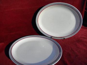 vintage Syracuse restaurant / railroad china, white ironstone platters w/ grey - maroon