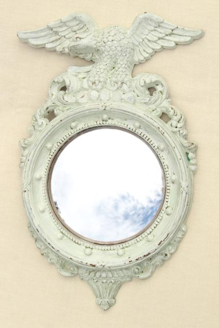 vintage Syroco Federal eagle frame w/ shabby white paint, bullseye bubble glass mirror