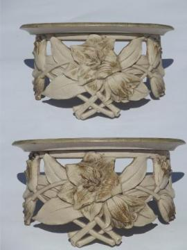 vintage Syroco Syrowood chippy paint shabby flowers wall bracket shelves