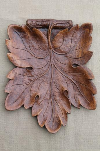 Vintage Syroco Wood Leaf Shaped Tray Rustic Carved Wood