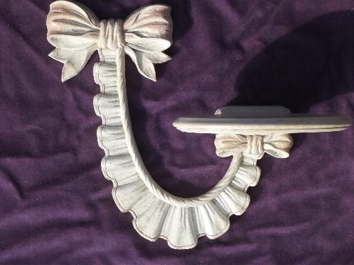 vintage Syroco Wood mirror and sconce wall shelves, carved roses and ribbons