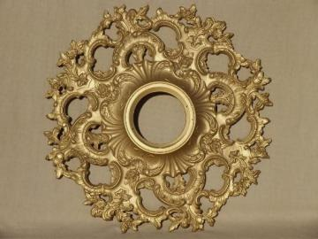 vintage Syroco Wood starburst frame, ornate gold rococo wall clock case