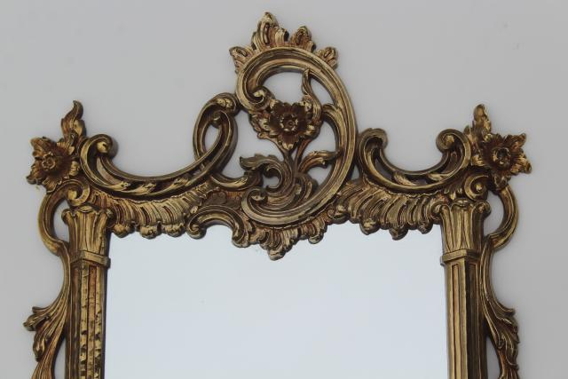 vintage Syroco gold plastic wall mirror, french country style, fairy tale pretty!