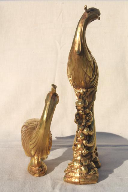 vintage Syroco gold statue figurines, pair of peacock birds, ornate exotic bird figures