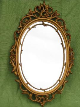 vintage Syroco ornate gold frame w/ mirror, french country style
