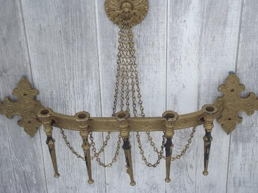 vintage Syroco wall mount candelabra candle sconce, shabby old gold