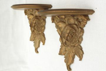 vintage Syrowood Syroco gold roses wood composition wall shelves, hollywood regency style!