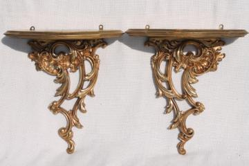 vintage Syrowood Syroco gold wood composition wall shelves, hollywood regency style!