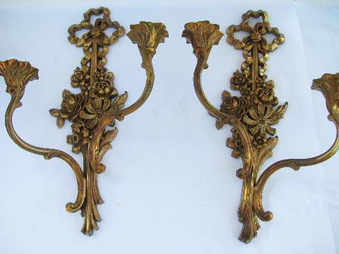 French Country Wall Sconces For Candles : vintage Syrowood label Syroco wall sconces for candles, antique gold french country