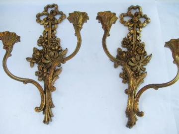 vintage Syrowood label Syroco wall sconces for candles, antique gold french country
