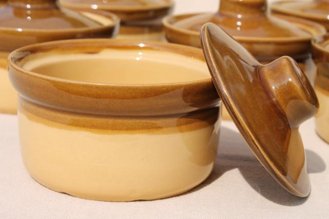 vintage T G Green England stoneware, Granville brown band pottery individual casseroles