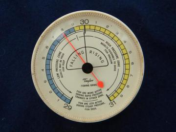 vintage Taylor fishing guide barometer to predict fish activity or biting