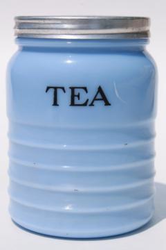 vintage Tea canister jar delphite blue milk glass, depression era kitchen glassware