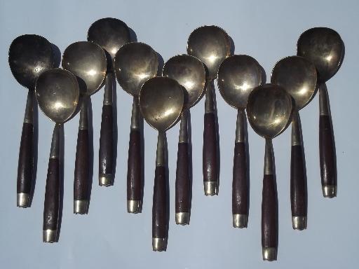 Vintage Thailand Brass Flatware Set W Teak Wood Handles