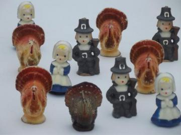 vintage Thanksgiving Gurley pilgrim candles & figural turkey candle lot