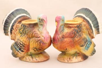 vintage Thanksgiving turkey candle holders, Napco Japan ceramic candlesticks