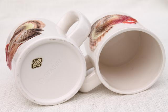 vintage Thanksgiving turkey ceramic mugs coffee cups, 80s Otagiri Japan