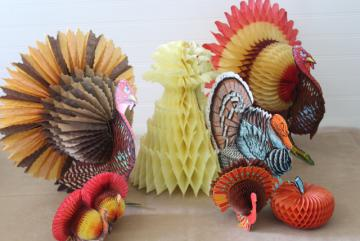 vintage Thanksgiving turkey die cuts honeycomb paper party table decorations