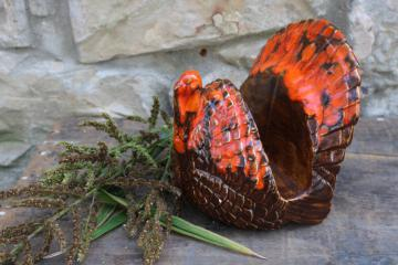 vintage Thanksgiving turkey napkin holder, handmade ceramic orange brown drip glaze