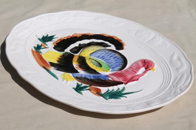 Vintage Thanksgiving Turkey Platter 70s 80s Hand Painted