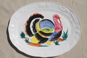 vintage Thanksgiving turkey platter, 70s 80s hand-painted ceramic tray made in Japan
