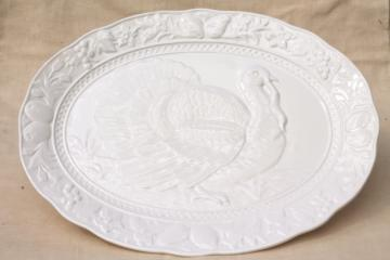 vintage Thanksgiving turkey platter embossed creamware style ceramic, made in Japan