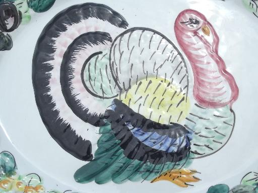 vintage thanksgiving turkey platter hand painted ceramic made in italy