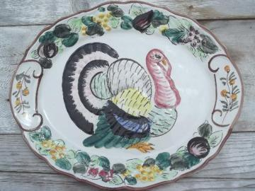 vintage Thanksgiving turkey platter, hand-painted ceramic made in Italy