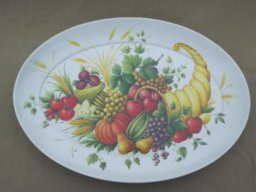 vintage Thanksgiving turkey platter, huge melmac  tray w/ cornucopia