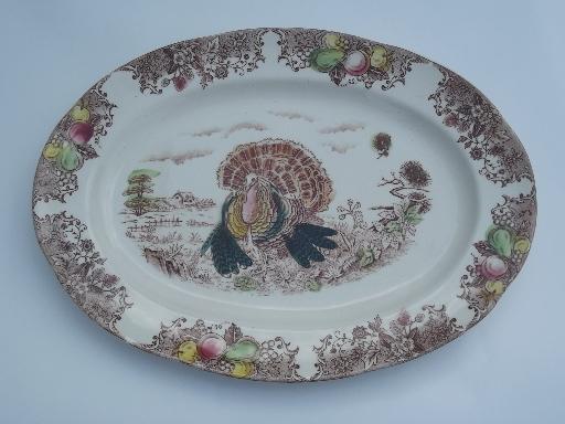 Vintage Thanksgiving Turkey Platter Old Unmarked Transferware China