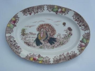 vintage Thanksgiving turkey platter, old unmarked transferware china